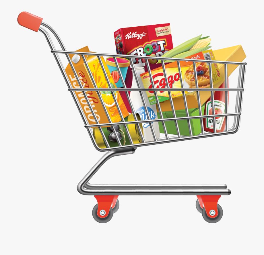 Groceries Vector Full Shopping Bag.