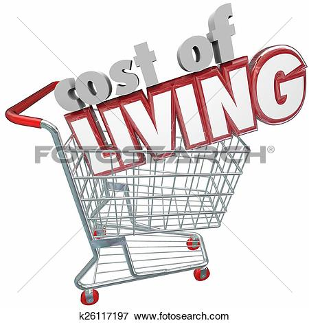 Picture of Cost of Living Shopping Cart Words Higher Price Goods.