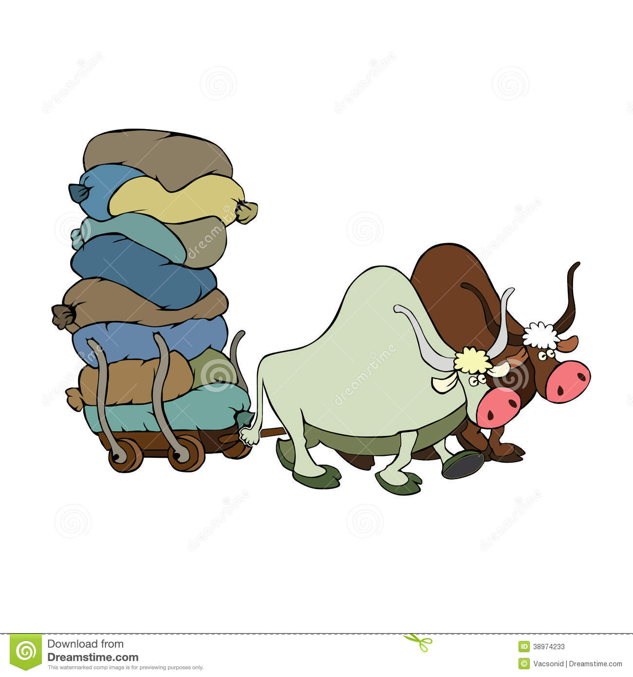 Bulls Pulling A Cart With Goods Stock Vector.