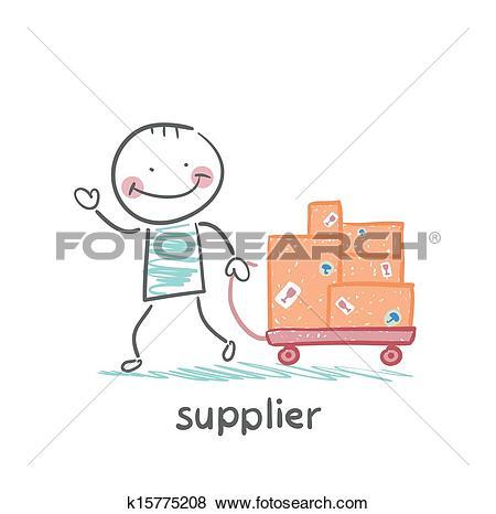 Clip Art of supplier walks with a cart of goods k15775208.