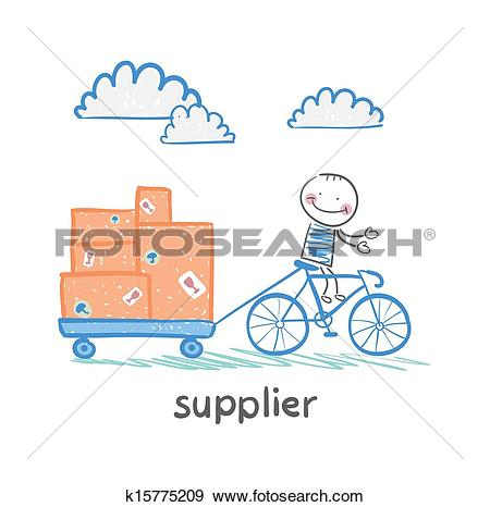 Clip Art of supplier supplier rides a bike with a cart of goods.