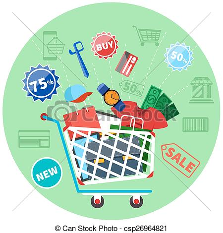 Vector Illustration of Online shopping cart with goods concept.