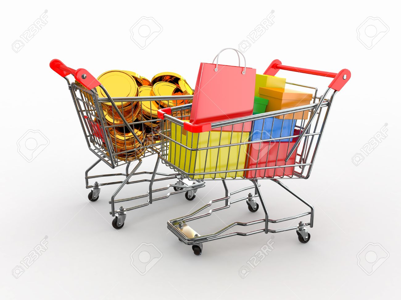 Consumerism. Purchase Of Goods For Money. Shopping Cart With.