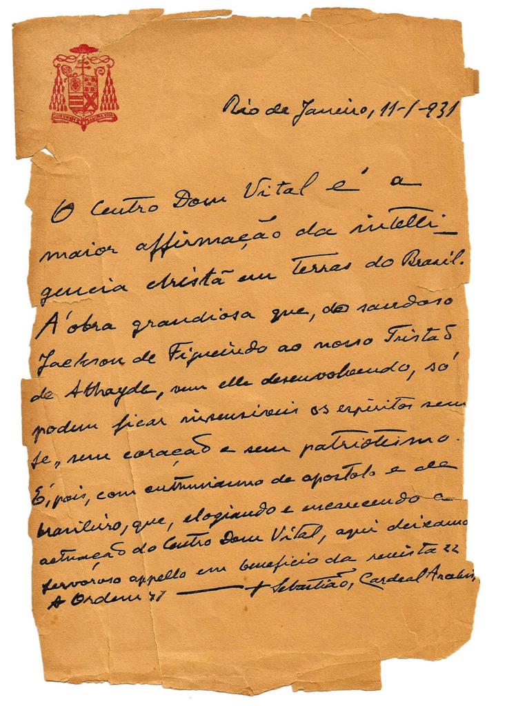 File:Carta ao Centro Dom Vital, Cardeal Leme.png.