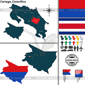 Map of Cartago, Costa Rica.