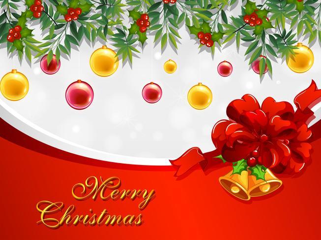 Modelo de cartão de Natal com sinos e enfeites.
