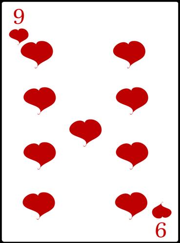 Nove de imagem de vetor de baralho de corações.