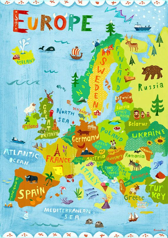 Illustration carte Europe / numérique tirage poster / Kids.