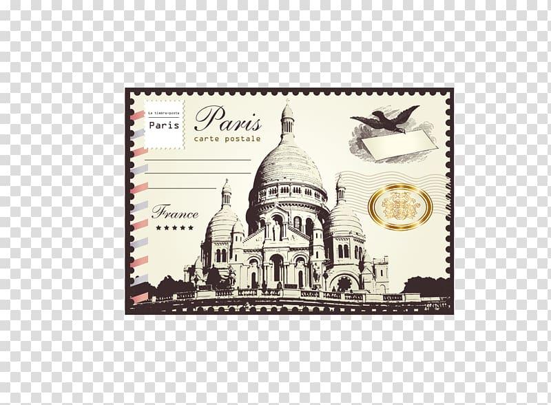 Paris Carte Postale, London Paris Paper Postage stamp.
