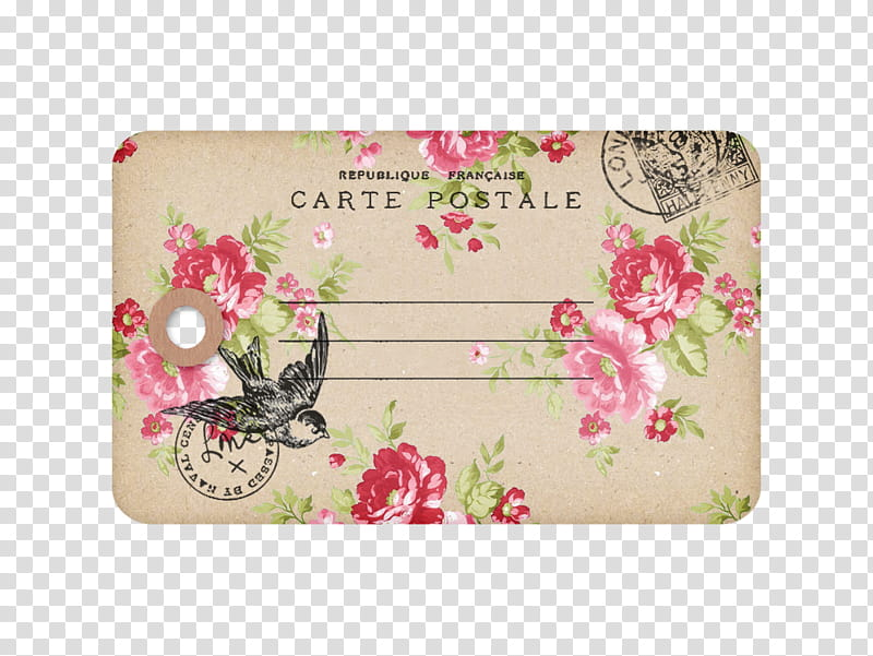 Mail for Me , pink and beige Carte Postale card transparent.