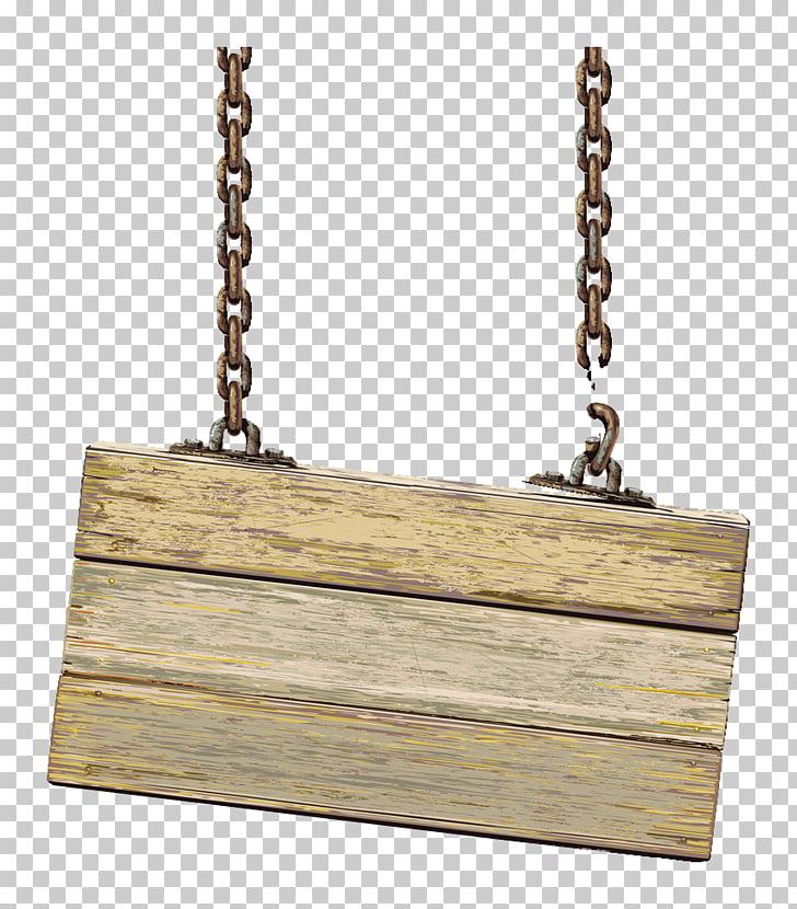Señalización colgante de madera marrón con cadenas.