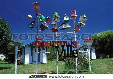 Stock Images of birdhouse, Carthage, MO, Missouri, Colorful.