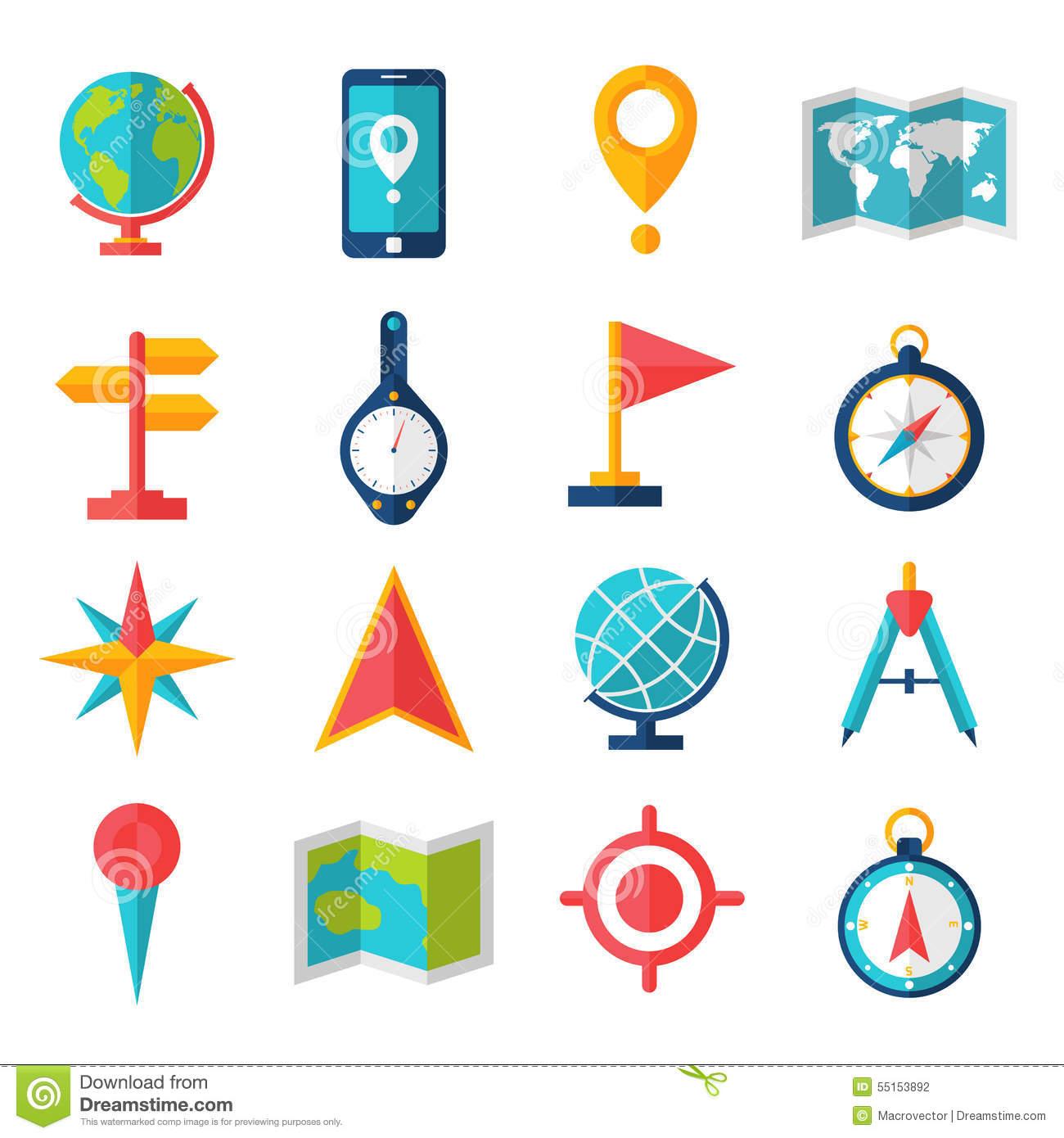 Cartography Flat Icon Set Stock Vector.