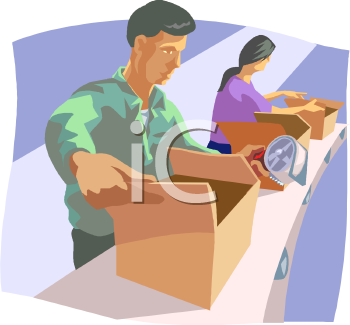 Royalty Free Clipart Image: People Packing Cartons on an Assembly Line.