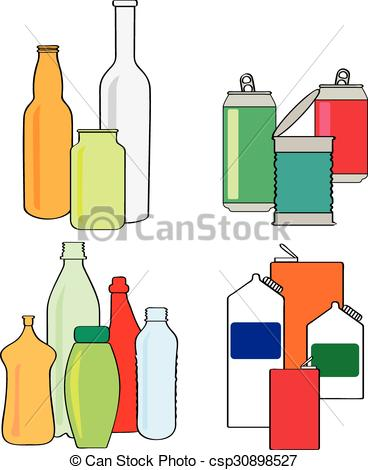 Vector Illustration of Recycling bottles, cartons, cans.