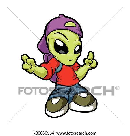 Cartoon hip hop alien. Clipart.