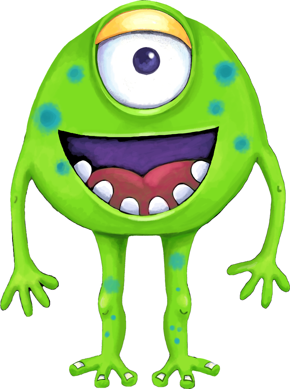 Your Free Art: Cute Blue, Purple and Green Cartoon Alien Monsters.