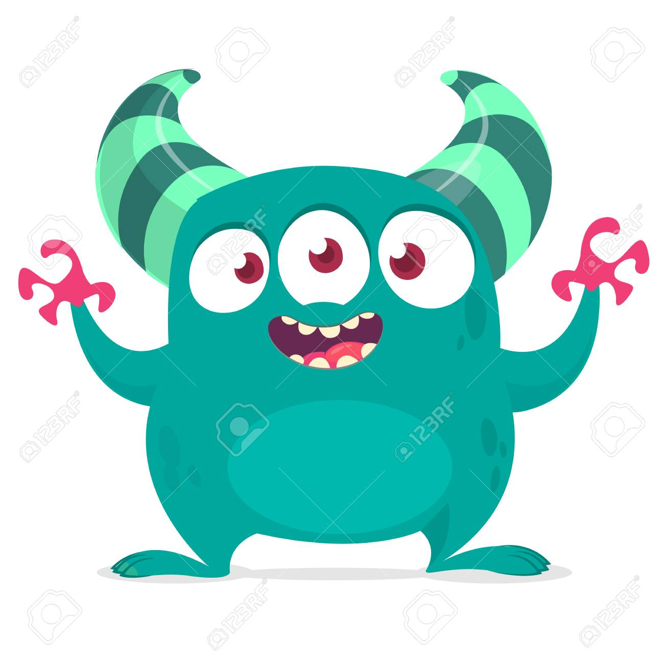 Funny cartoon alien with three eyes. Vector illustration. Clipart.
