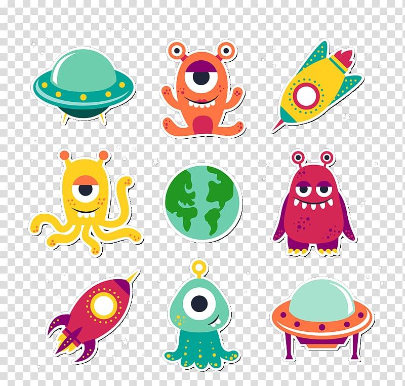 Alien Extraterrestrial life Unidentified flying object, 9 cartoon.