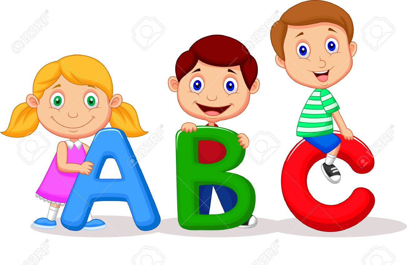 Children cartoon with ABC alphabet.