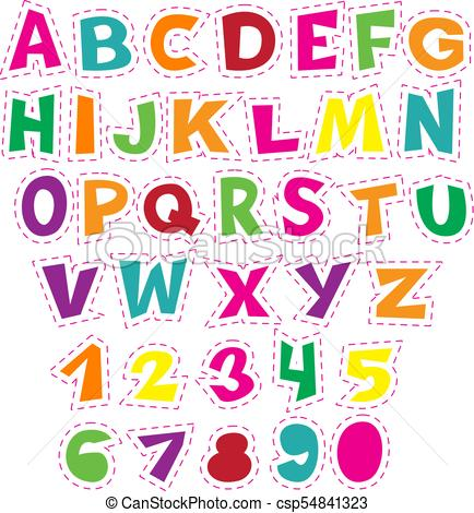 Colorful cartoon alphabet for children. Vector educational collection of  letters and numbers..