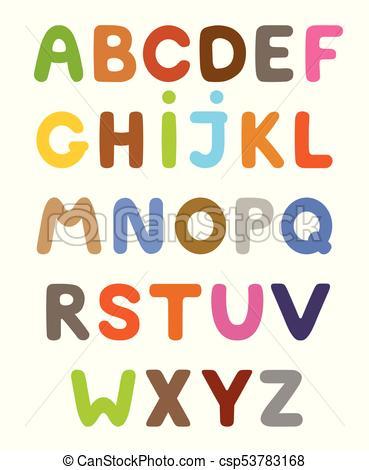 Funny colorful cartoon alphabet. Alphabetical letters ABC for children..