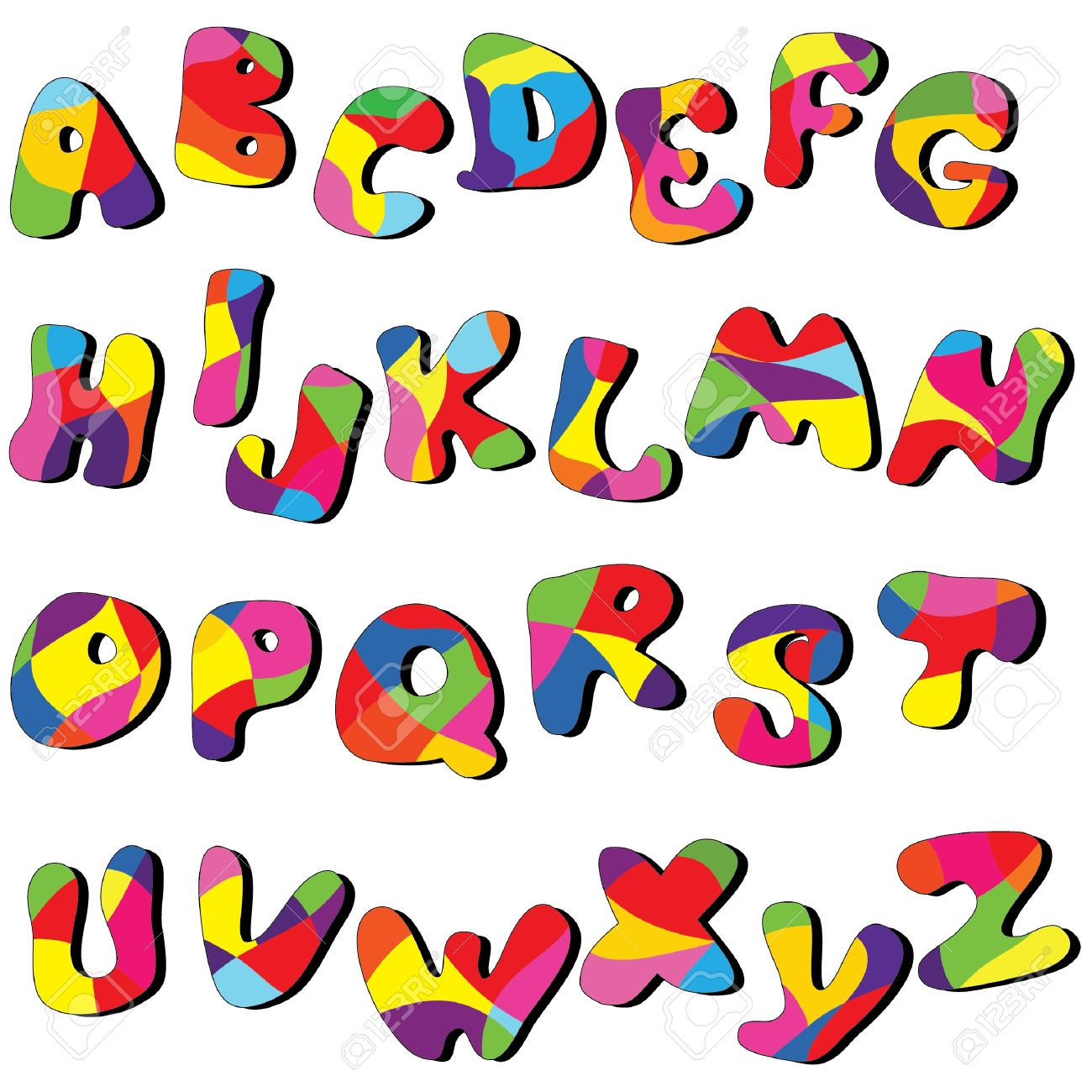 full cartoon alphabet . Vector clip art from A to Z.