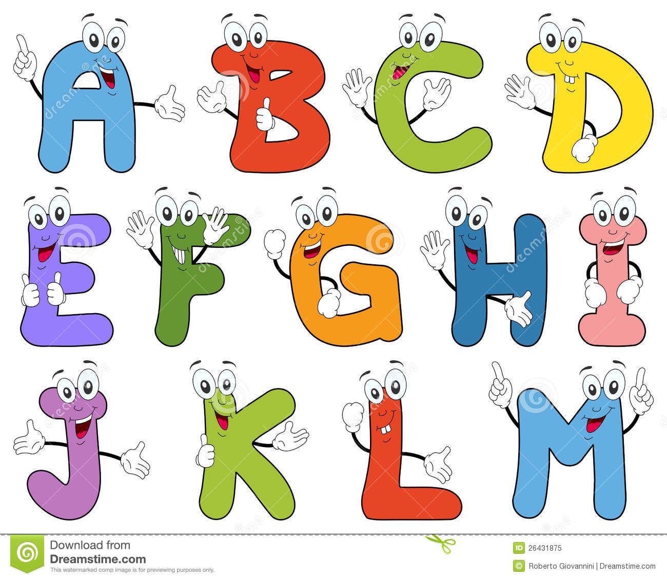 Cartoon Alphabet Characters A.