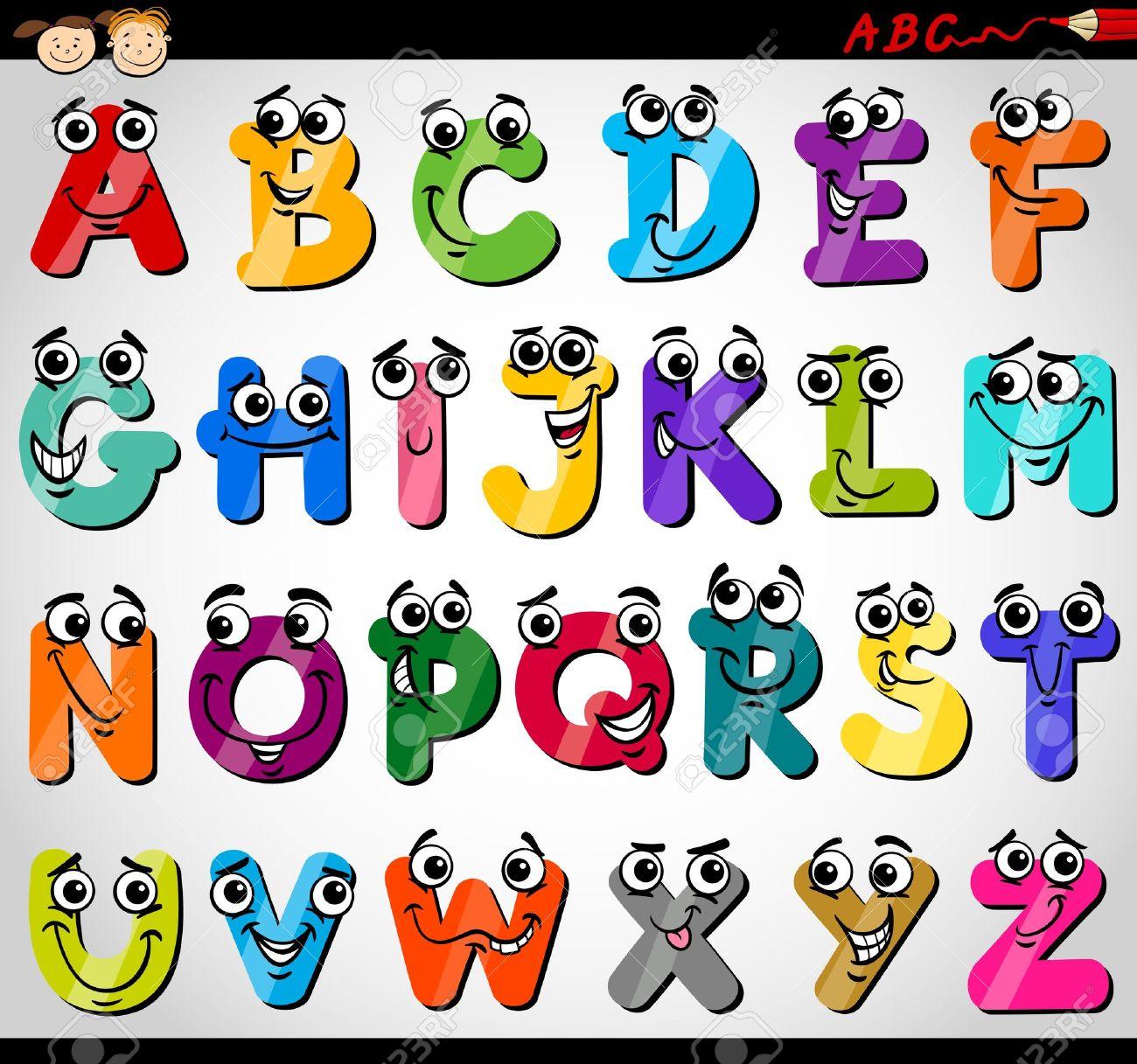 Cartoon Illustration of Funny Capital Letters Alphabet for Children...