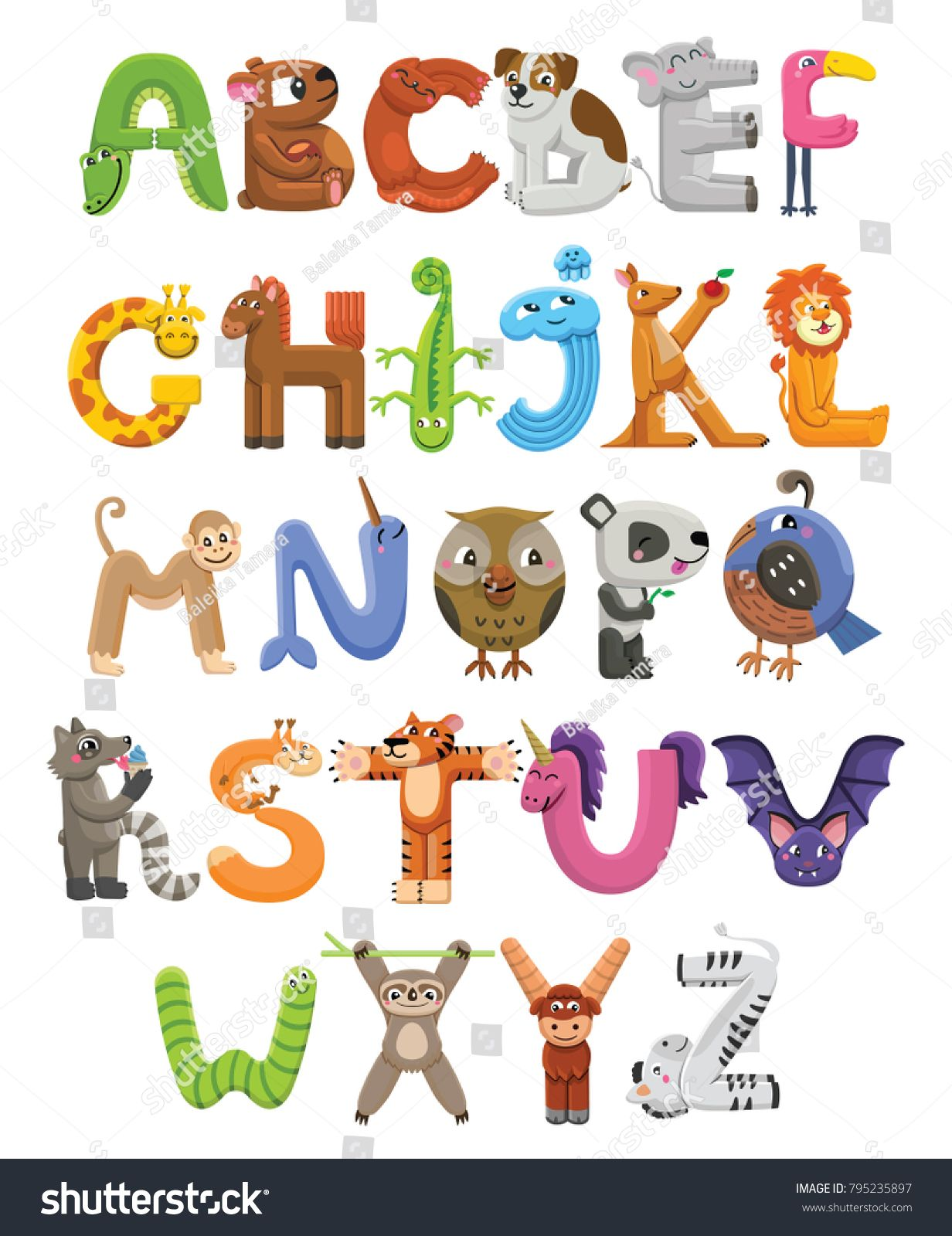 Zoo alphabet. Animal alphabet. Letters from A to Z. Cartoon cute.