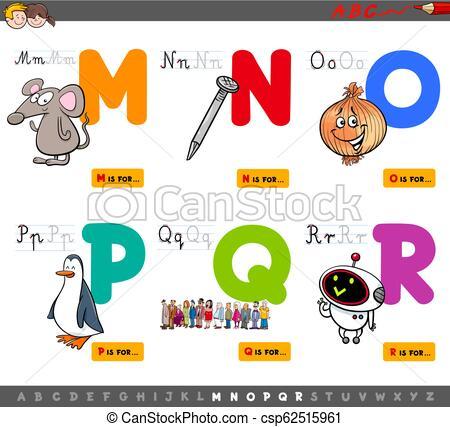 educational cartoon alphabet letters set.