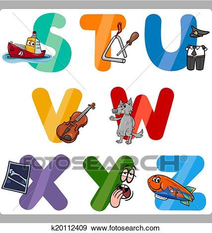 Education Cartoon Alphabet Letters for Kids Clip Art.