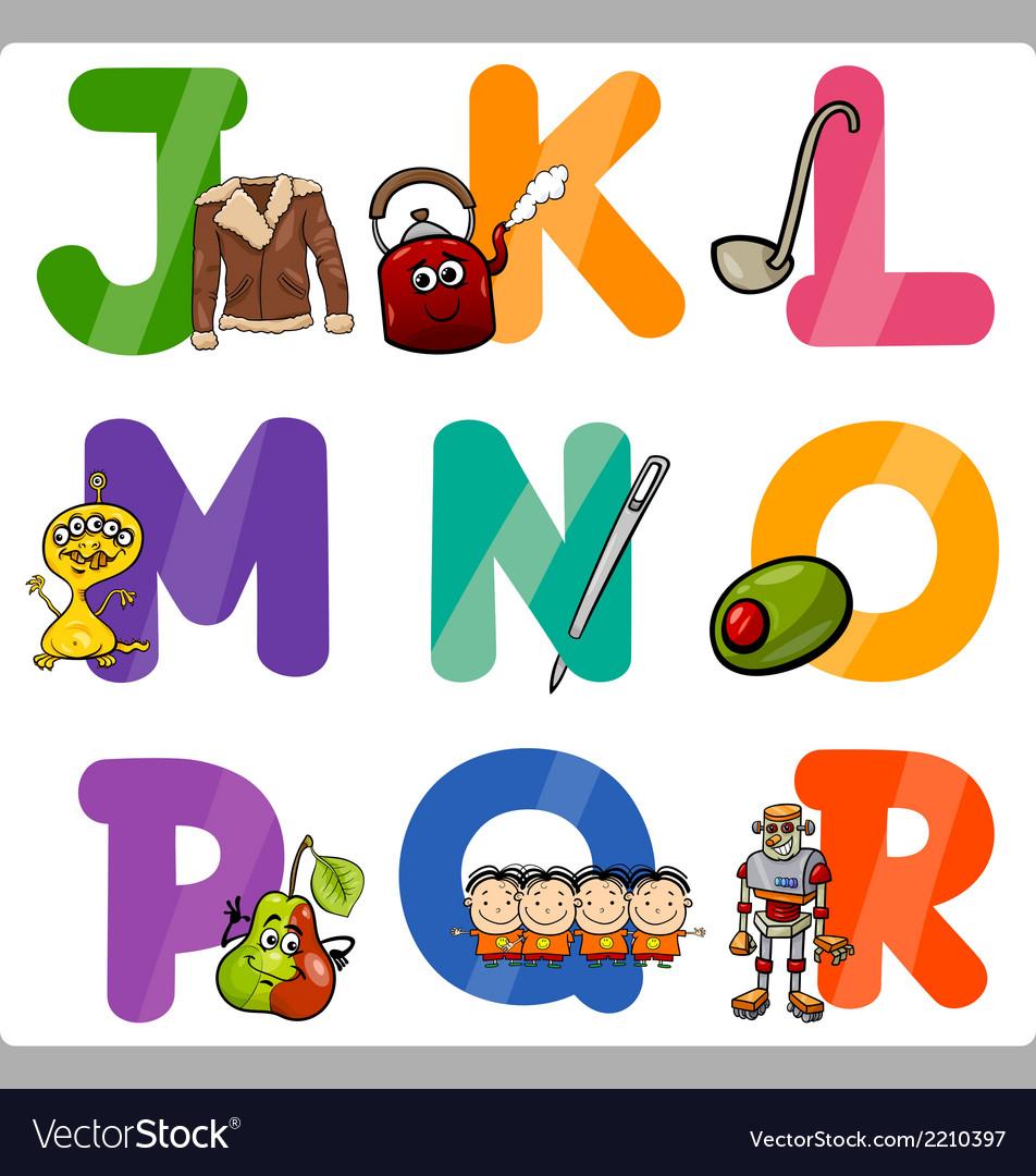 Education Cartoon Alphabet Letters for Kids.