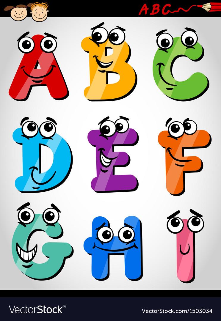 Funny letters alphabet cartoon.