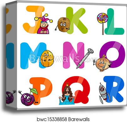 Education Cartoon Alphabet Letters for Kids canvas print.