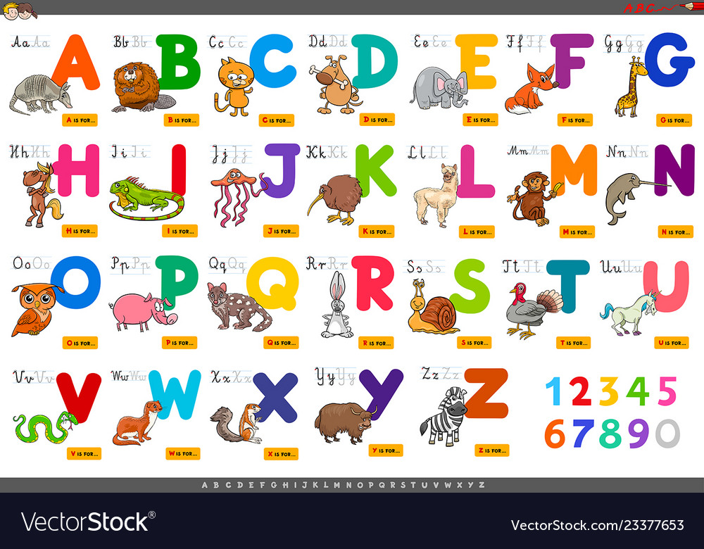 Educational cartoon alphabet letters for learning.