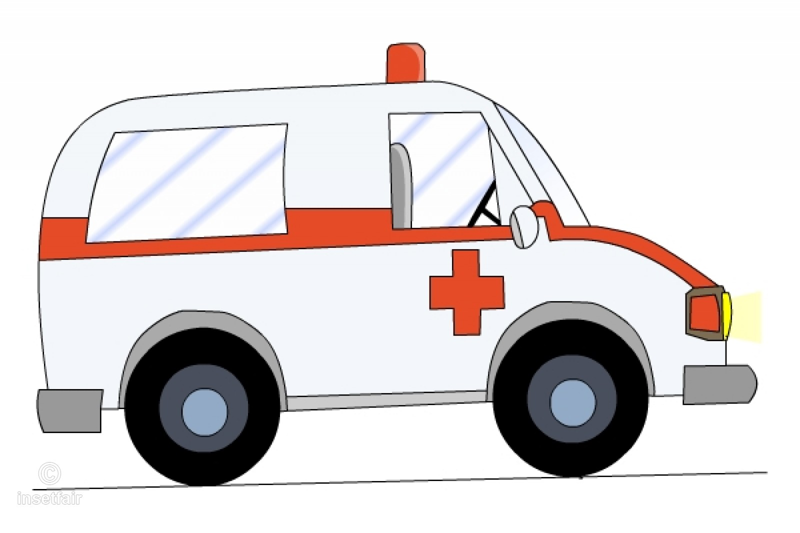 Emergency Ambulance vehicle cartoon PNG clipart.