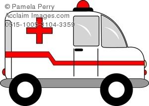 Clip Art Image of a Cartoon Ambulance.