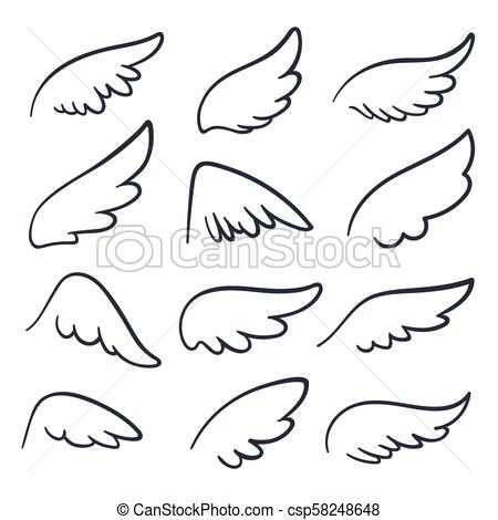 Cartoon angel wings. Winged doodle sketch icons. Angels and bird vector  symbols isolated.