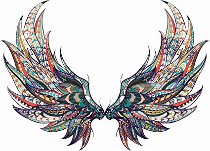 Amazon.com: Beautiful Colorful Feather Angel Wings Tribal Pattern.