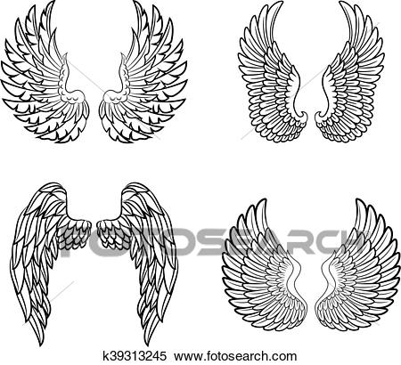 Cartoon angel wings collection set Clipart.