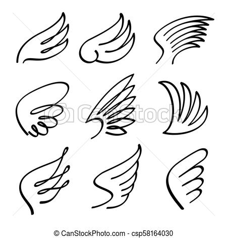 Cartoon angel wings vector set. Sketch doodle winged abstract emblems  isolated on white background.