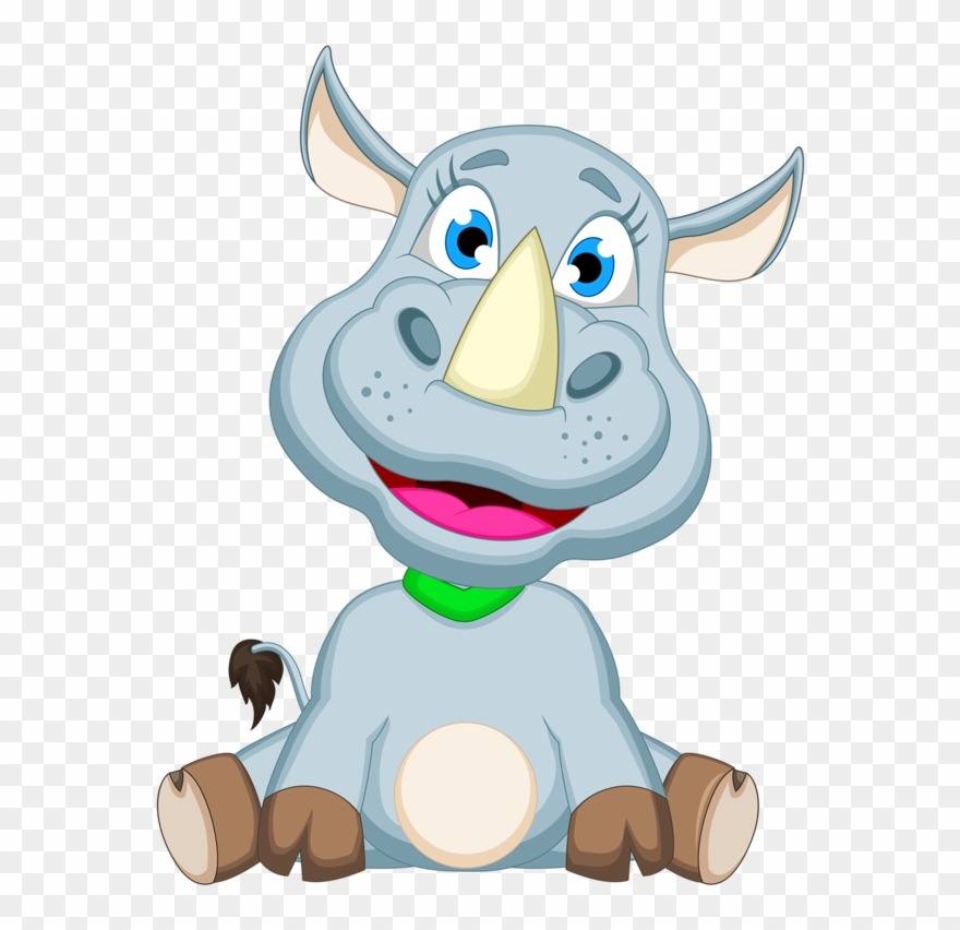 Baby Rhino Cartoon Animal Images On A Transparent Background.