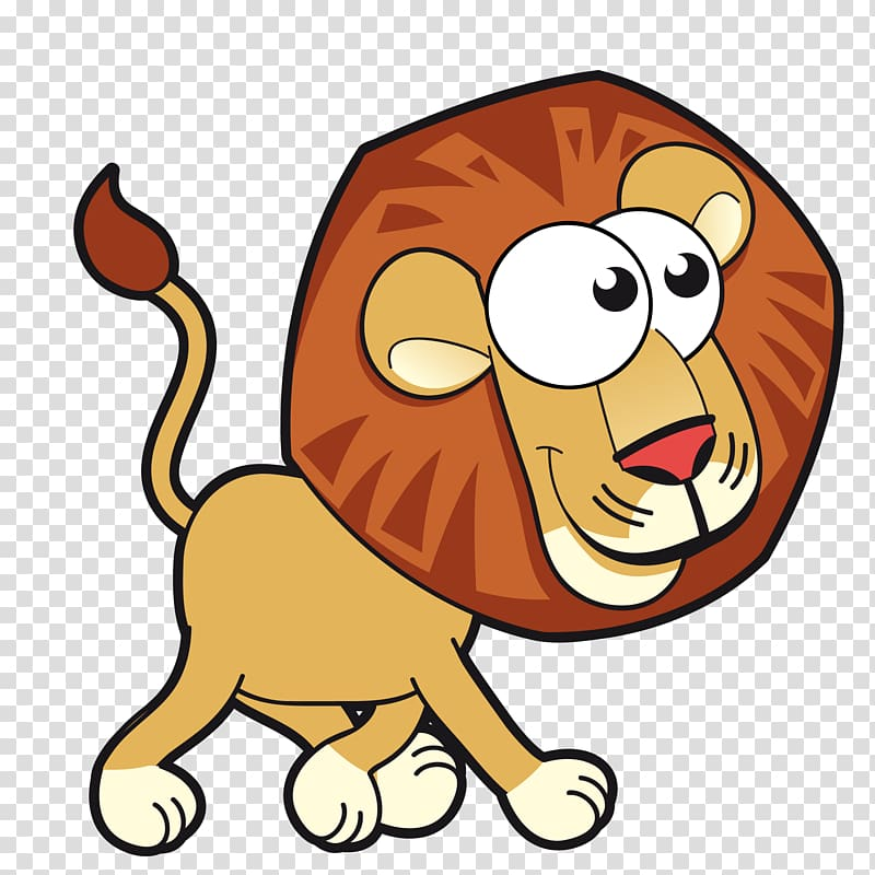 Lion Cartoon Animals Card , Cute cartoon lion transparent background.