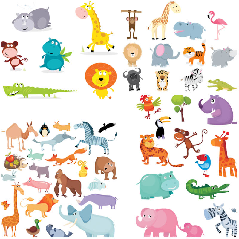 4 Sets of vector funny cartoon animals illustrations such as hippo.