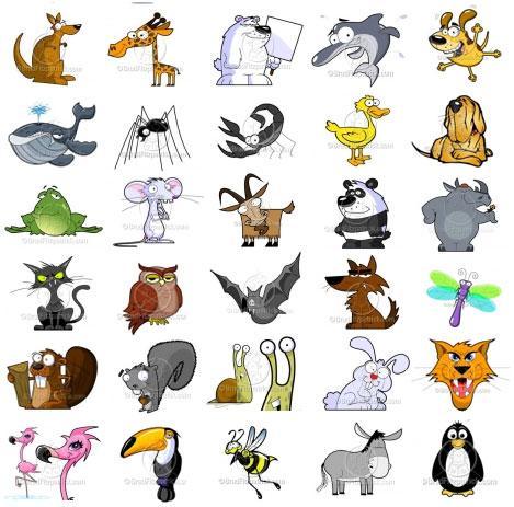 Cartoon Animals Clip Art Pack.