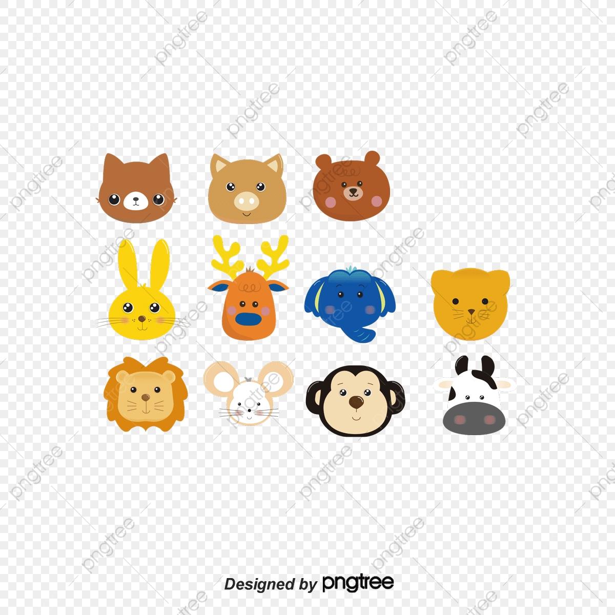 Cute Cartoon Painted Animal Heads, Cartoon Clipart, Animal Clipart.