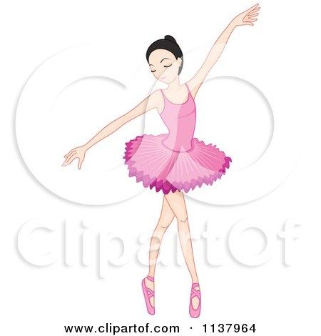 Cartoon Clipart of a Cute Ballerina Girl Dancing in a Pink Tutu.