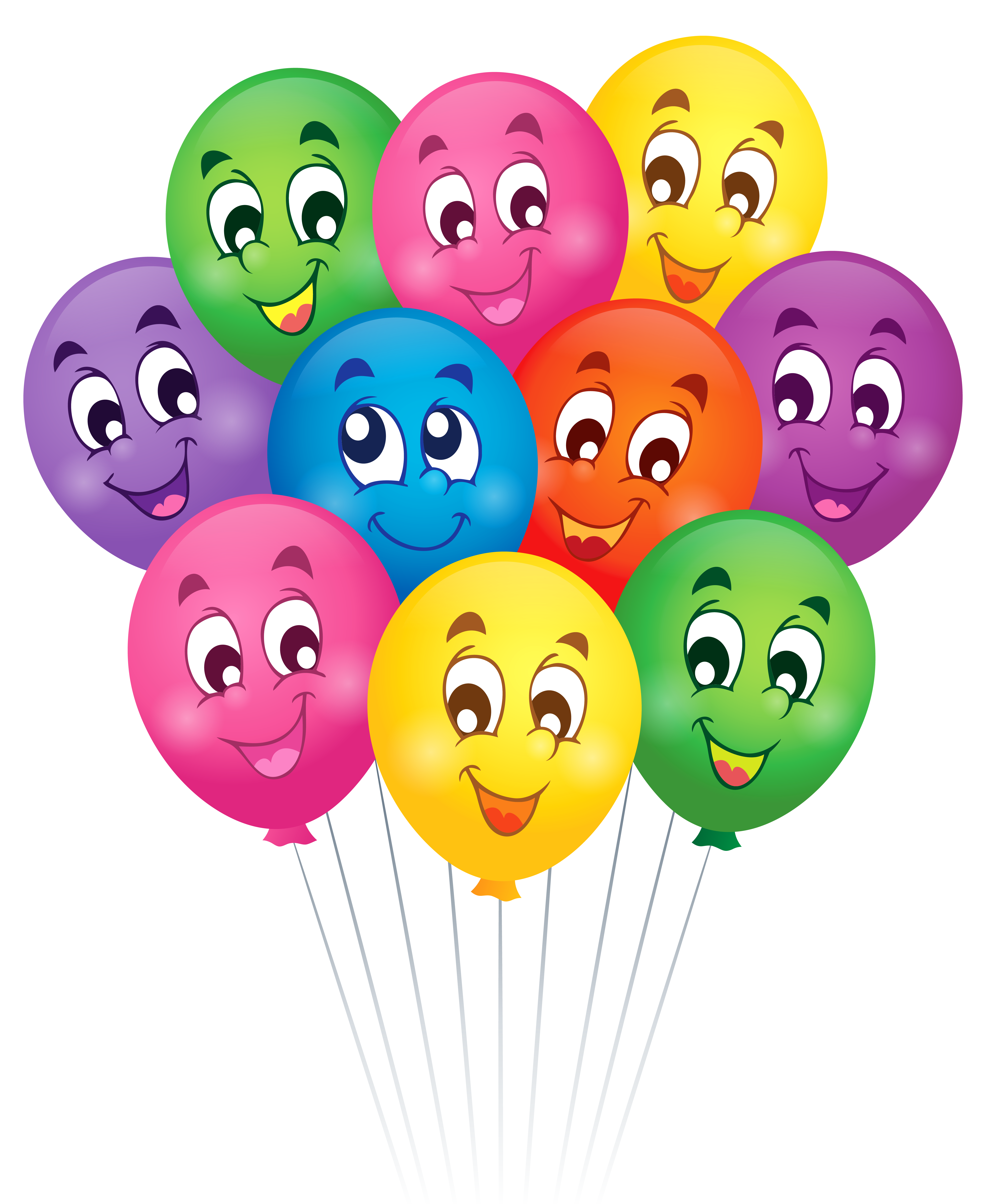 Balloons with Faces Cartoon PNG Clipart Picture.