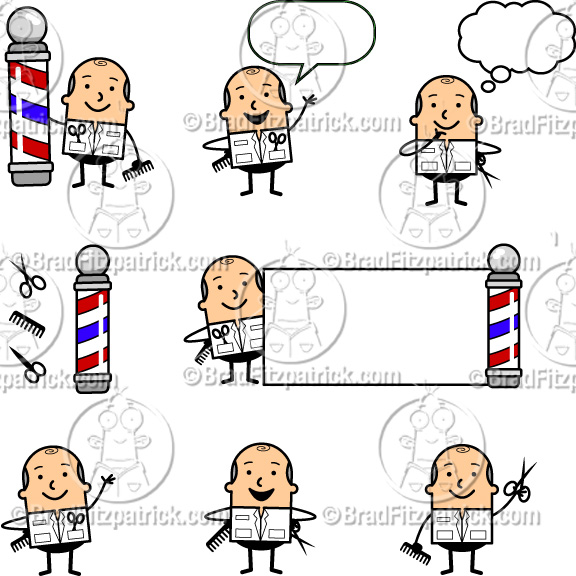 Cartoon Barber Clip Art.